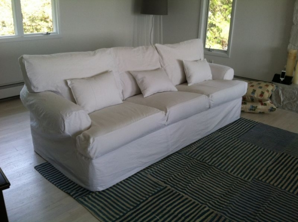 One of the many slipcovers I have made for various clients over the years. This in cotton duck.