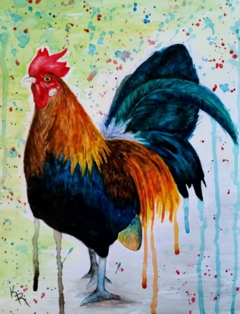 My own rooster watercolor painting