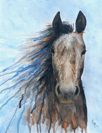 My own watercolor horse painting. Loved experimenting with the dripping technique!