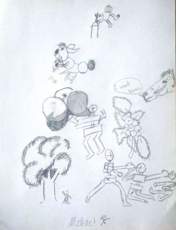 Student: Michael K. (Age 10) 5 to 10 Minute Gesture Drawings.