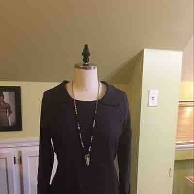 Lined Dress with collard and tie in back, cuff sleeves