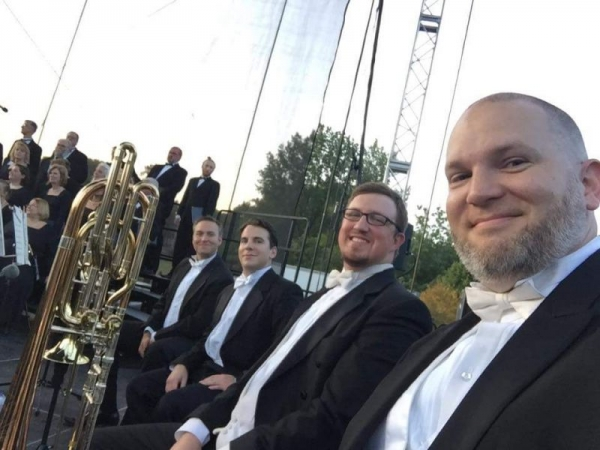 """2017 Orchestra Iowa Low Brass Section at """"Brucemorchestra"""" performing Beethoven Symphony #9."""