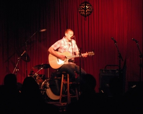 Performing at the Hotel Cafe in Hollywood, CA.