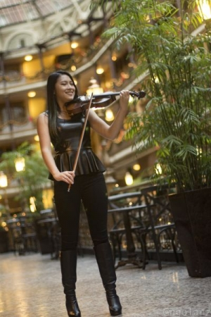 Playing the violin for another photoshoot in Cleveland, OH