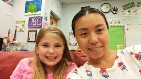 Me and me niece in her classroom
