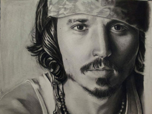 "Charcoal portrait, ""Johnny"""