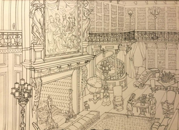 """Library at Biltmore Estate"", line in ink"