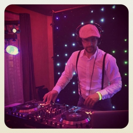 DJing an Electro-Swing event.