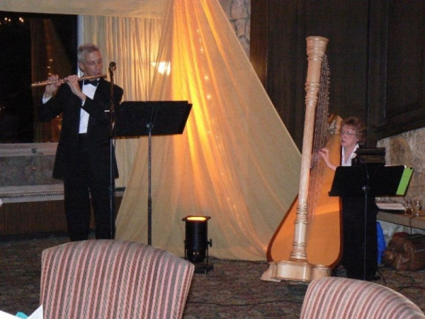 Playing Flute-Harp Duo