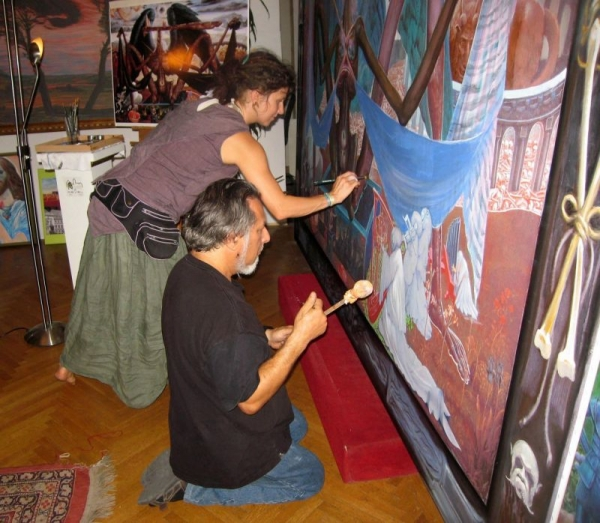 June, 2012 The Museum of Fantastic Art in Vienna, Austria. Mantra Cora and Prof. Jacobson assisting Ernst Fuchs on the  Angel of Death.