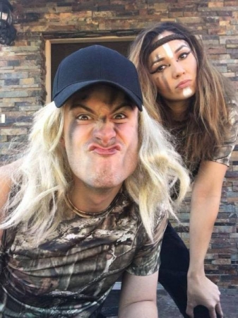 Arlin (my wife) and I put on war paint for a 5k mud run we did...and yes, that's a wig I'm wearing.