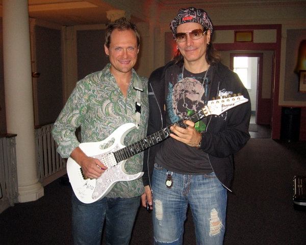 Andrew backstage with Steve Vai before a show in Philadelphia, PA.