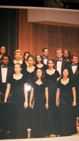 Singing in a college choir.