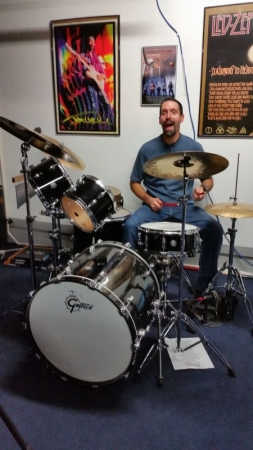 Getting down on the Gretsch kit.
