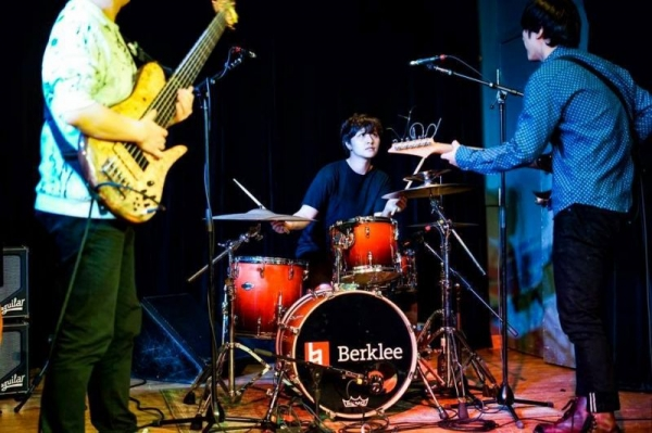 Playing for a guitarist's recital at Berklee College of Music