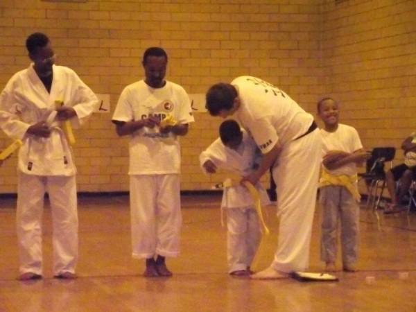 My son getting his yellow belt
