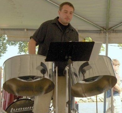 Performing steel pan at The Sand Bar in south east Michigan.