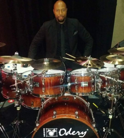 My setup for Donnie McClurkin Concert! Endorsement Companies, Odery Drums Sabian Vic Firth Evans, Sledgepad urbanboards stickpro