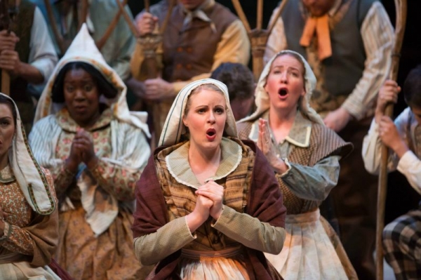 Singing in the chorus of Arizona Opera's production of Donizetti's La Fille du Regiment. (photo courtesy of Tim Trumble)