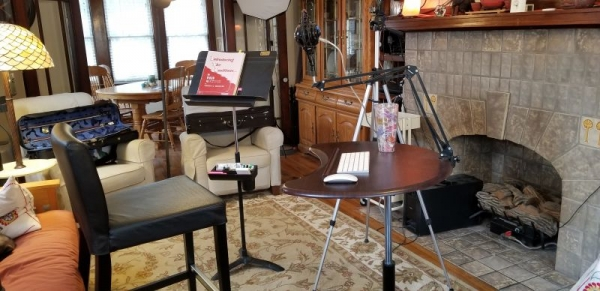 My set up for online lessons.  Microphone, Webcam on tripod, extra lighting, etc.