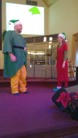 Fun scene from Elf. Our acting students did so well and the costumes were amazing.