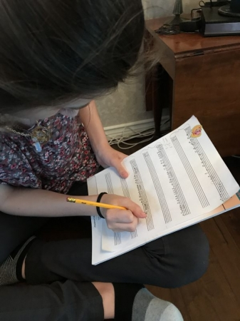 When we started, she couldn't read music. Now, she's writing her own!