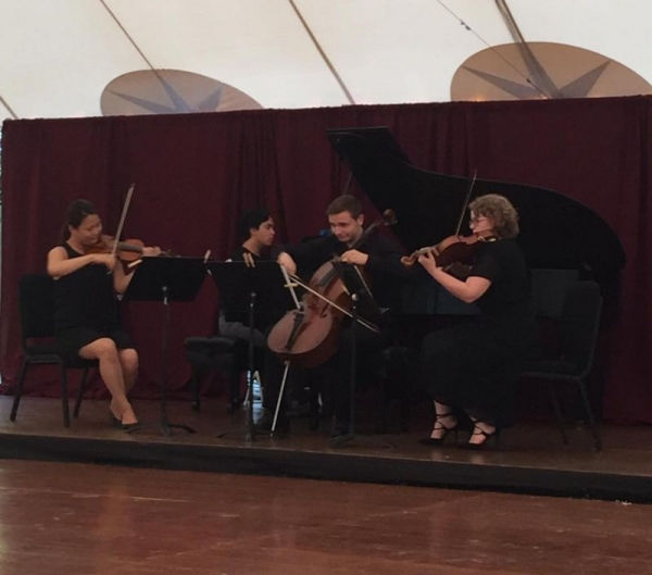 The winning quartet with the Turina Piano Quartet in A Minor at the Duxbury Music Festival, Summer 2016.