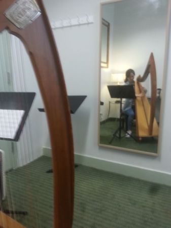 One of Zoe's beginning harp students in New York City.