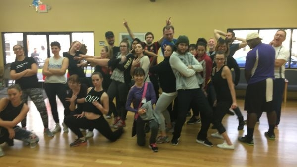 """Free Day of Dance was bombbbb! I taught Bruno Mars' """"Finesse"""". I'm in the beanie with the blue/white jacket."""