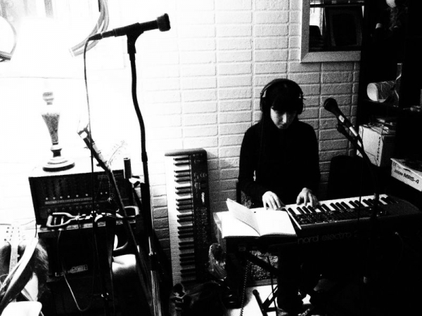 Recording on the Nord in Brooklyn, NY with collaborator and songwriter Brian Russ.