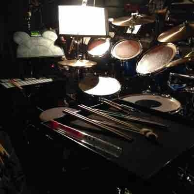 Music theatre set-up / Guys & Dolls.  Drum-KAT played timpani and Chimes.  Drum set for all tunes.