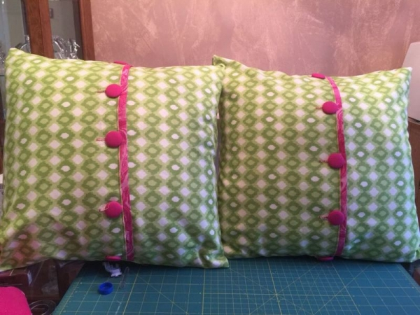 Two pillows with covered buttons - Recent Student work