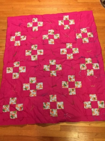 Nine patch quilt - tied with variegated embroidery floss