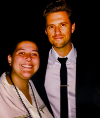 A very unflattering pic of me the night i performed w Aaron Tveit (star of Les Mis movie and Grease Live).