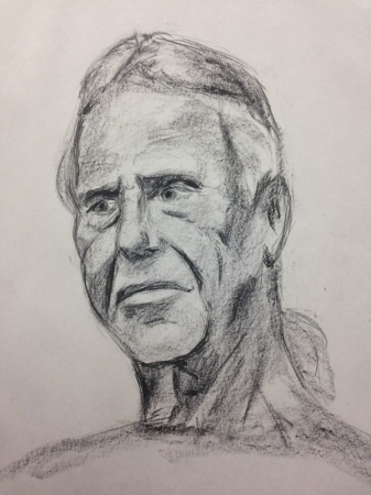 Portrait of David, charcoal on paper.