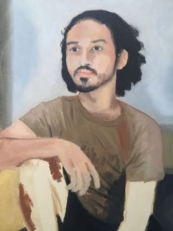 Self-portrait, oil on canvas.