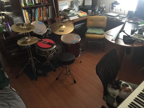 My teaching studio, featuring Lucy the cat.