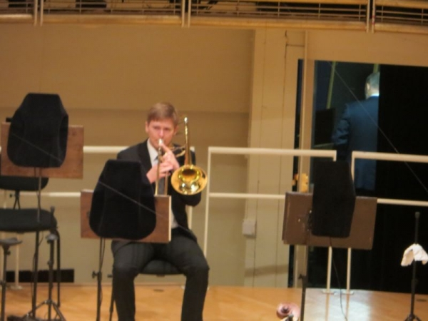 Warming up onstage at Orchestra Hall in Chicago.