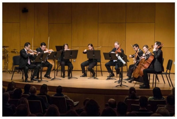 Performing chamber works with members from the The Metropolitan Opera Orchestra. (Zeynep is pictured in 3rd violin from the left)