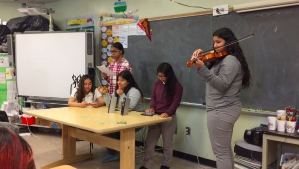 During one of my Teaching Artist classes. Students here were asked to compose their own pieces and then perform them.