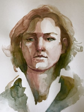 Watercolor portrait from life