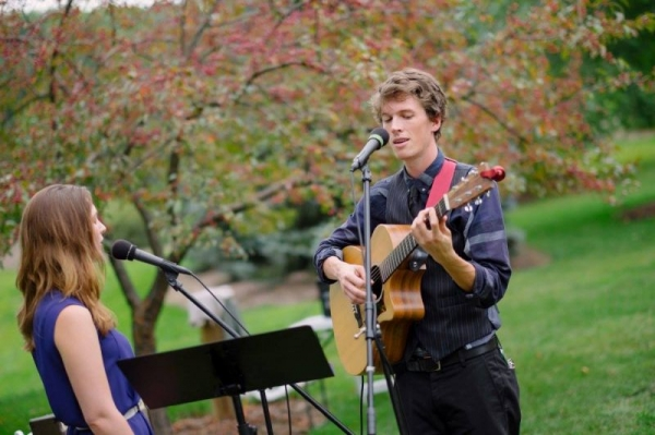 Singing tunes for a wedding with my fiancée!