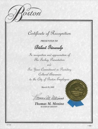 Certificate of Recognition, Thomas Menino, Former Mayor of Boston