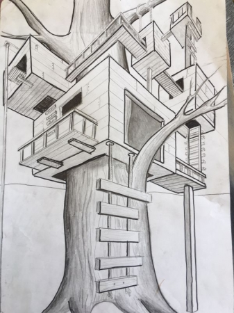 This the work of a recent student as I was teaching them perspective drawing.