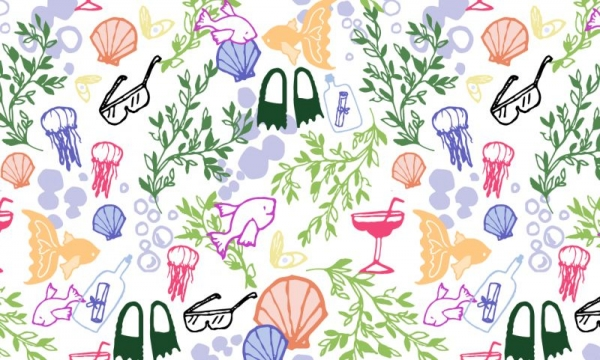 A really silly repeating pattern I drew, colored, and designed in Illustrator