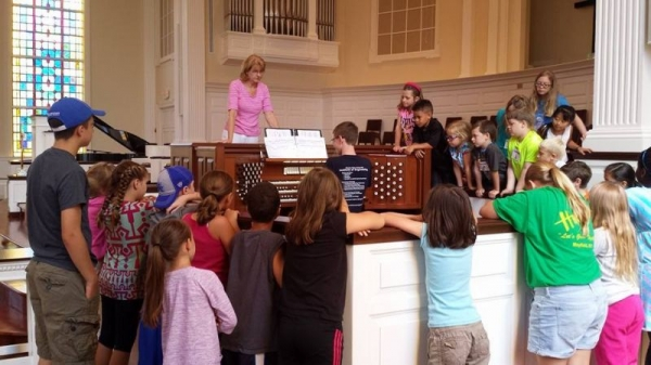 Organ demonstration at local church music camp