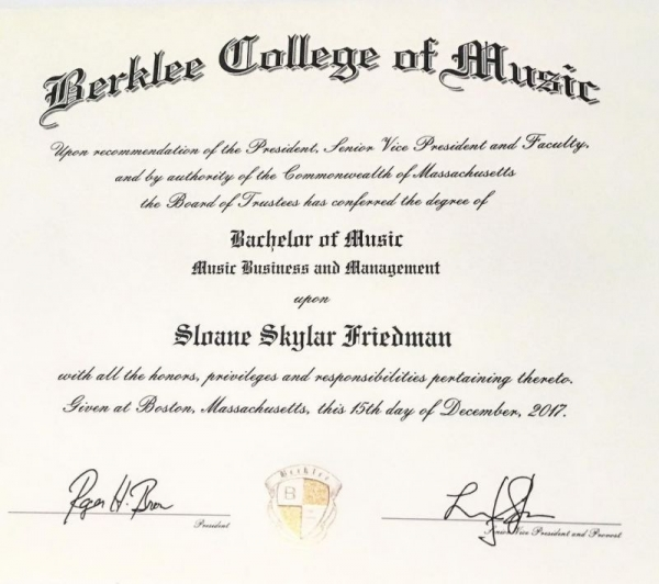 Berklee College of Music Diploma