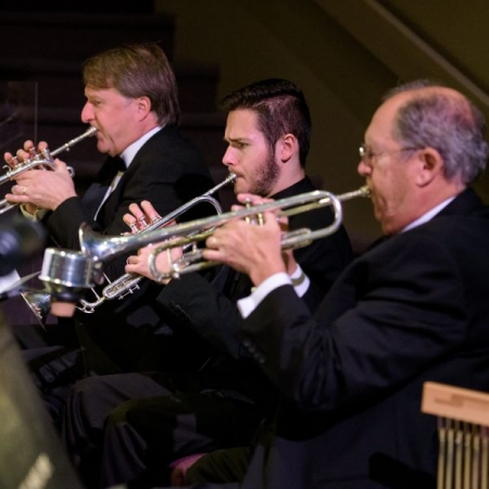 "Trumpet Section, Church Orchestra, Alderwood Community Church, Lynnwood, ""Life of the Land,"" Christmas Musical Drama, December, 2017."