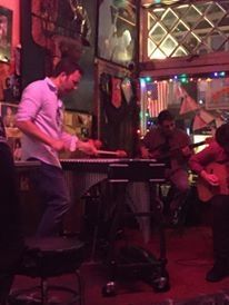 Playing vibraphone with my trio at the Chatterbox night-club.