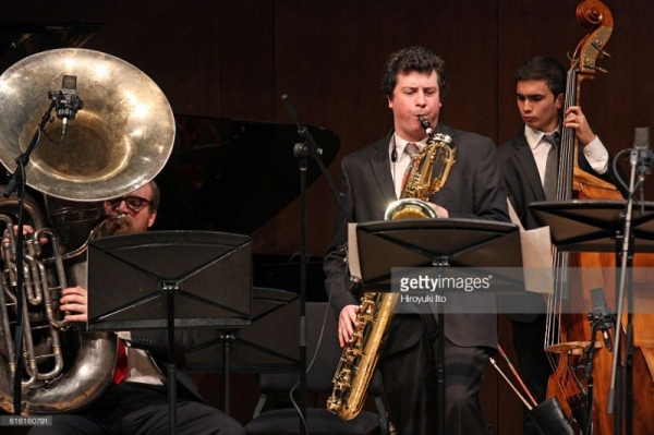 Performing on Tuba in Paul Hall with Christopher Bittner. Photo by Hiroyuki Ito.